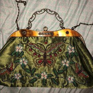 Handbags - Antique Style Green Beaded Purse Like New